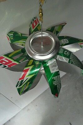 Handmade Mountain Dew Can Wind Spinner Recycled Outdoor Indoor Christmas Unique