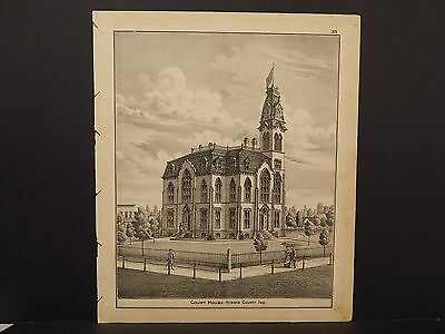 Indiana Howard County Map Courthouse Engraving 1877 Y13#30