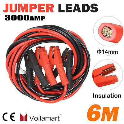 3000AMP Heavy Duty Battery Jump Start Leads 6 Metres LONG Booster Cables Car Van