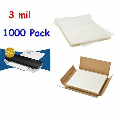 "3 Mil Letter Size Clear Thermal Laminating Pouches 9"" x 11.5"" Sheets- 1000 Pack"