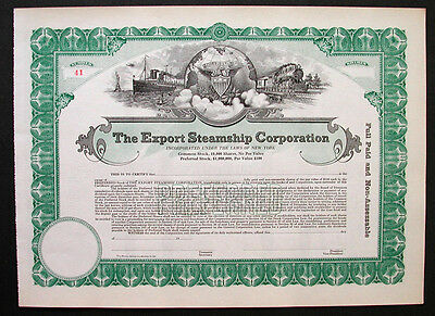 Export Steamship Co Stock Certificate 1920's