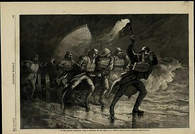 Ship Wreck Rescuers Beach Waves Boat Torch nice wonderful 1877 unusual old print