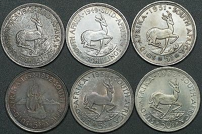 Lot of (6) 1948, 1949, 1951, 1952, 1958 & 1963 South Africa 5 Shilling