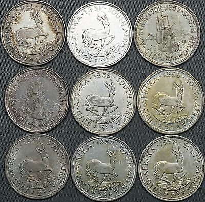 Lot of (9) 1951 x2, 1952 x2 & 1958 x4 South Africa 5 Shilling