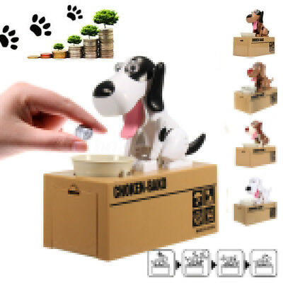 Puppy Dog Stealing Coin Money Penny Cents Piggy Bank Saving Box Kids Xmas Gift