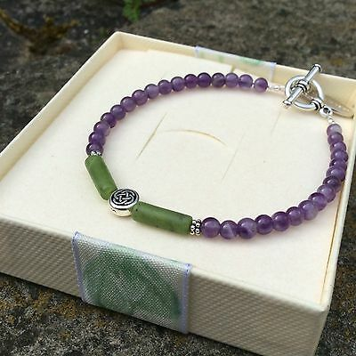 Connemara marble purple amethyst gemstone Celtic bracelet Irish designer jewelry