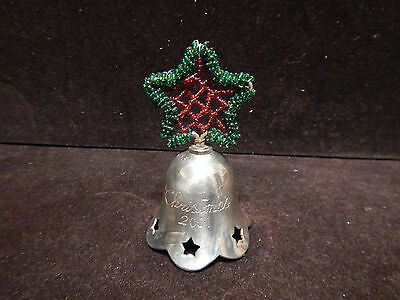International Silver Co Silver Plated Engraved Christmas Bell 2001 Snowflake