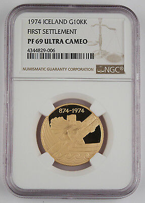 Iceland 1974 Settlement 10000 Kronur 15.5 Gram 90% Gold Proof Coin NGC PF69 UC