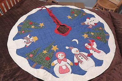 "Handcrafted Quilted & Appliqued 48"" Snowman Primitive Look Christmas Tree Skirt"