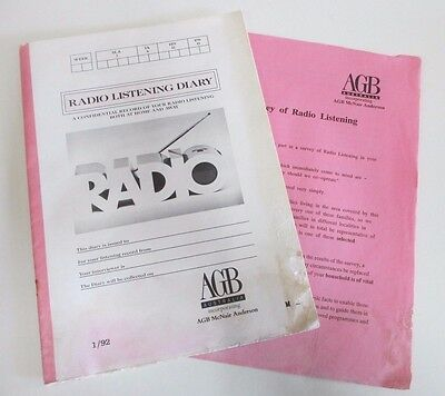Radio Listening Diary - AGB Australia McNair Anderson - Market Research  - 1992