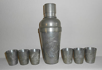 Antique KUT HING SWATOW CHINA PEWTER Cocktail Shaker + 6 Cups ~ Engraved Dragons
