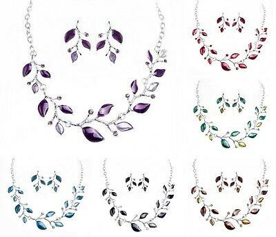 Fashion Women Silver-plated Jewelry Set Crystal Statement Necklace And Earrings