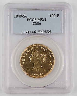 Chile 1949 So 20.33 Gram 0.900 Gold 100 Peso Coin PCGS MS61 KM#175 Uncirculated