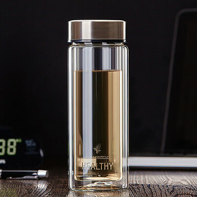 300ml Double Wall Glass Water Bottle Tea Cup Mug BPA Free with Filter Infuser
