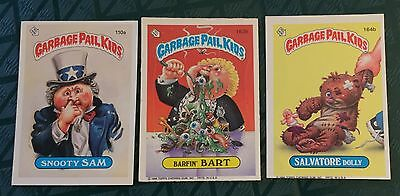 3 Exc Orig Garbage Pail Kids 1986 Sticker Cards Snooty Sam Barfin' Bart & #164