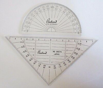 Two Plastic Radiant Scientific Protractors - Made in Germany and Japan