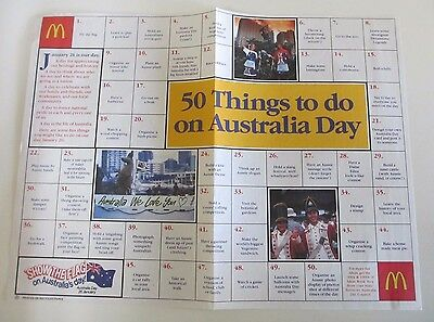 McDonald's Tray Liner or Placemat - 50 Things to Do on Australia Day - 1990s