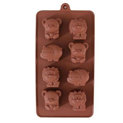 Animals Silicone Mould Lion Bear Hippo Cow Chocolate Mold 8 Cavities B