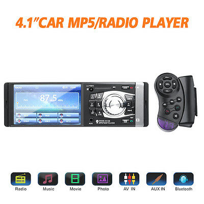 "Single Din 4.1"" HD TFT Screen Car Stereo with Bluetooth FM and Radio in Dash"