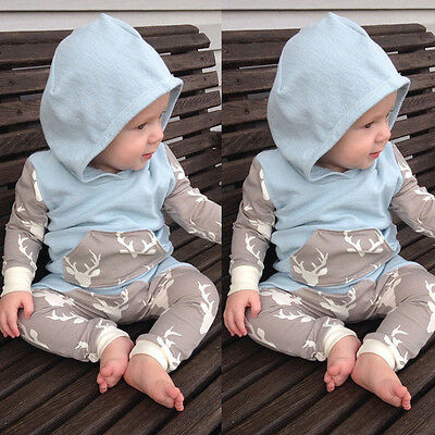 AU STOCK Newborn Baby Boy Hooded Tops Long Pant Leggings Clothes 2Pcs Outfit Set