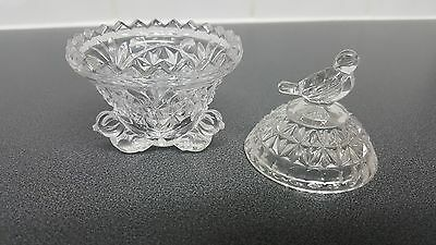 Hofbauer Byrdes Vintage Footed Crystal Glass Trinket Dish With Bird Deco