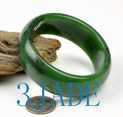 61mm Natural Green Nephrite Jade Bangle Bracelet  w/ Certificate of Authentity
