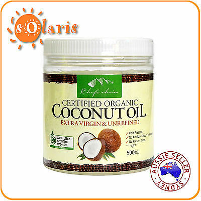 2X 500ml Chef's Choice Coconut Oil Certified Organic Extra Virgin Cold Pressed