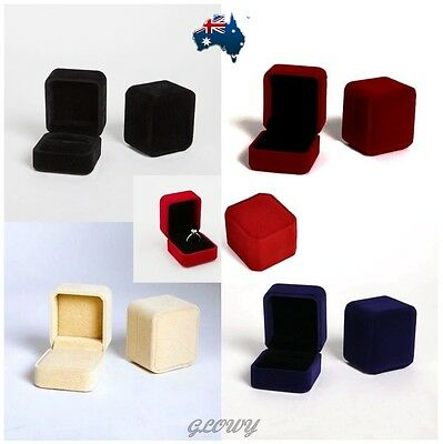 Black Wine Red Blue Beige Velvet Jewelry Gift Ring Box Engagement Wedding Case