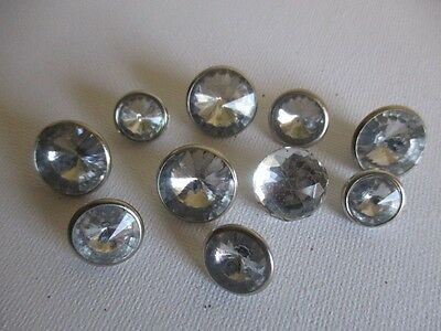 Lot of 10 Rhinestone Shank Buttons for Sewing, Crafts or Collecting