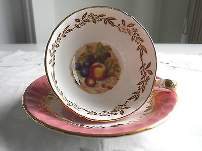 Aynsley 2480 Pink-Footed Cup & Saucer- Fruit Scalloped Pattern England