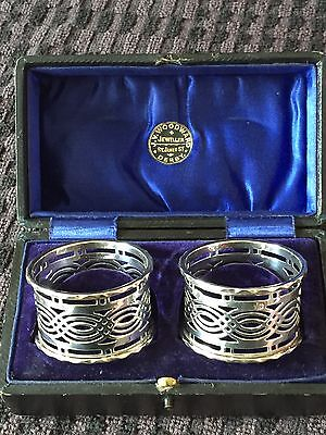 Antique Sterling Silver Napkin Rings In  Box