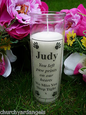 Pet Memorial Candle - Personalised - Suitable for outdoors - Paw Prints