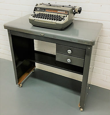 Mid Century Cole Steel Typing Table Desk 1950s Metal Industrial Steam Punk
