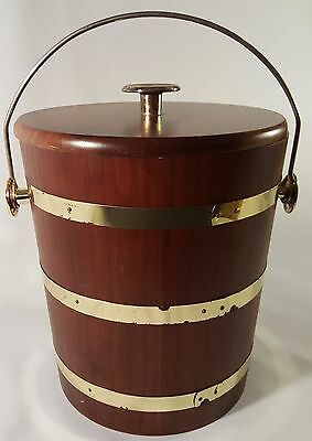 Vintage-Vermillion-Wood-Products-Walnut-Ice-Bucket-Springfield,MO-USA-1960-70's