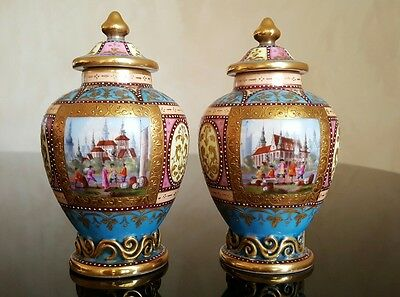 PAIR 18th or 19th Century KPM Berlin Germany Porcelain Vases Jars Hand Painted