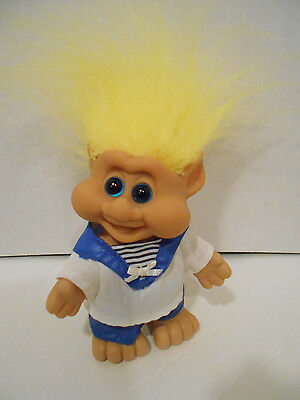 "5"" ITB Troll 1991 Dressed in BLUE PANTS, BLUE & WHITE SAILOR TOP yellow hair"