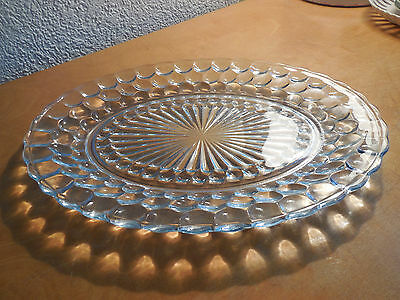 "Vintage Anchor Hocking BLUE BUBBLE Glass 12"" OVAL PLATTER"