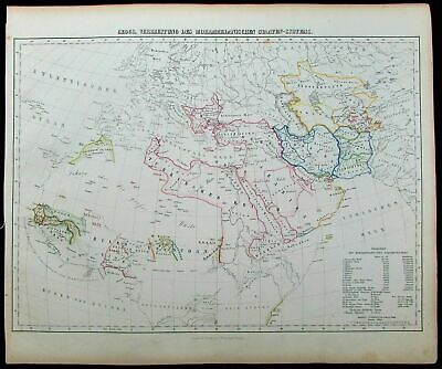 Spread Islam Muslim population Africa Arabia 1852 Flemming antique color map