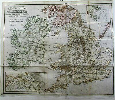 England Ireland Scotland coal fields lighthouses shown c.1850 Copley antique map