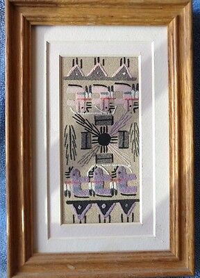 """Vintage Framed Navajo Sand Painting """"Buffalo People"""" Signed, 6"""" X 9"""""""