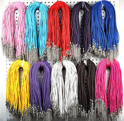 100pcs Lots of Jewelry Bulk Braided Leather Cord Necklace with Lobster Clasp