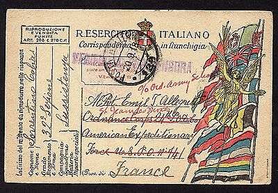 Italy Army Post Card 1918 from Italian Front to American Expeditionary Force
