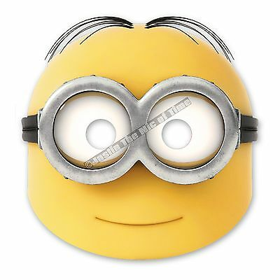 Despicable Me Minions Boys Girls Birthday Party Paper Face Masks x6