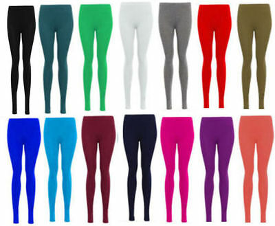 New Womens Plain Leggings Stretchy Elasticated Ladies Full Length Pants 8-26