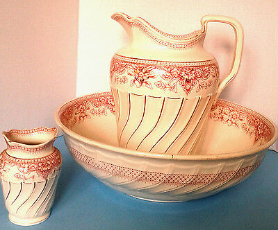 Copeland Late Spode Antique c.1891 Pink Transferware Large Pitcher Bowl Ewer Set