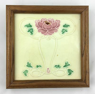 Old or Antique English ART NOUVEAU Majolica Tile - Wood Frame