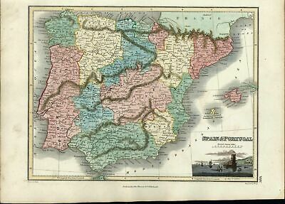 Spain Portugal Bay of Lisbon inset view beautiful 1819 Thomson antique old map