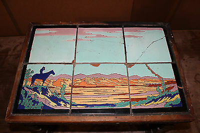 Vintage Taylor Tile Table Native American On Horse Sunset *rare* Monterey