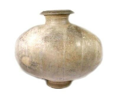 BC200 Ancient Han China Earthenware Pottery Cocoon Wine Hu Storage Decanter Jar