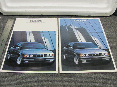 BMW 525i 535i Sales Brochure & Color / Upholstery Selections Brochures 1990